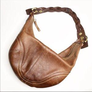 Coach Pebbled Leather Braided Soho Hobo Purse